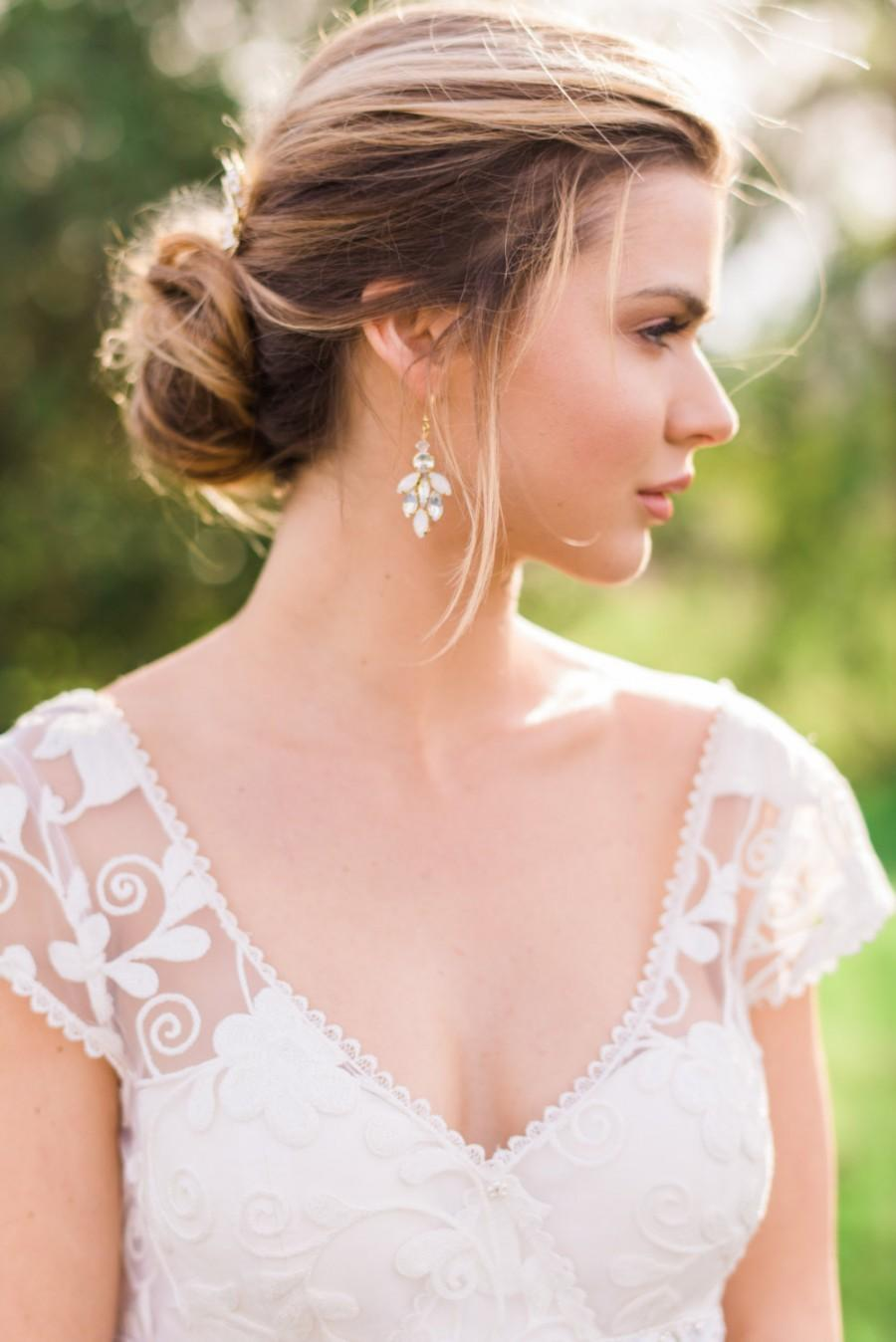 Gold Earrings Bridal Crystal Beaded