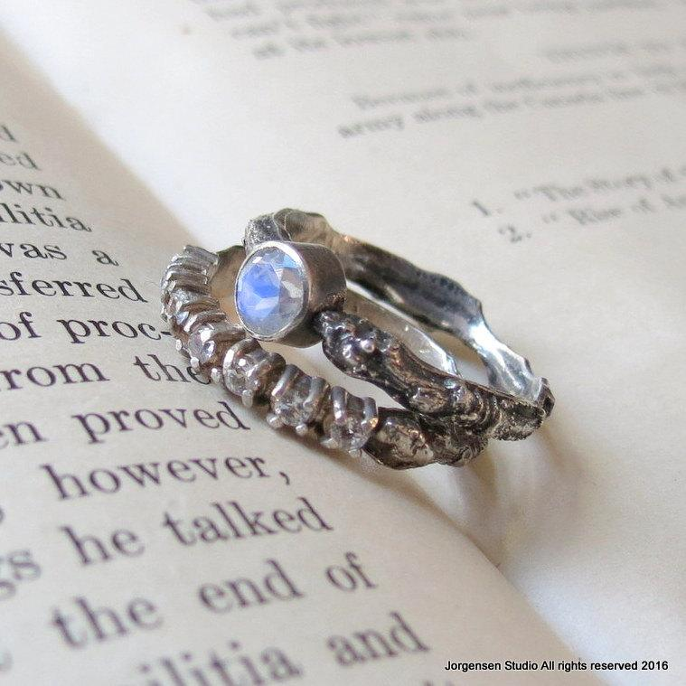 Bridal Set One Of A Kind Rainbow Moonstone Branch Wedding Ring In Sterling Silver Twig Rings
