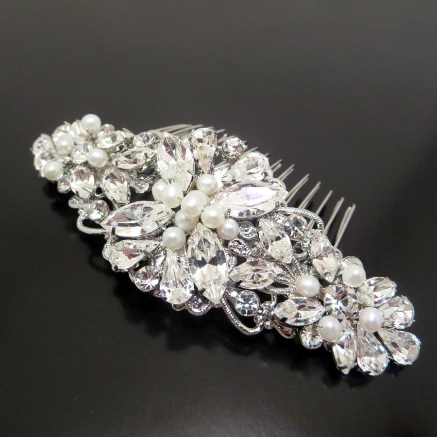 bridal hair comb, wedding headpiece, freshwater pearl hair comb