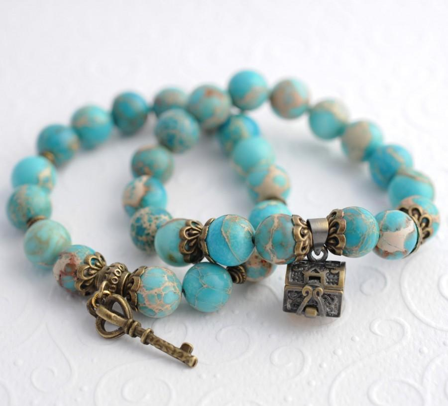 Vintage Turquoise Bracelets Beaded Charms S Energy Gemstone Set Bracelet Key Charm Antique Stretch