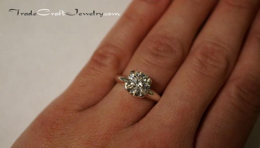 Argentium Sterling Silver Cubic Zirconia Engagement Ring Hearts Arrows Round Cut 2 3 Carats Cz Promise Solitaire Faux Diamond Size 9