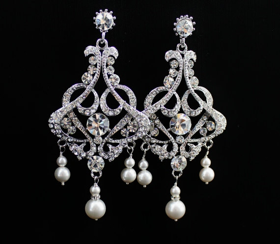 Pearl Crystal Earrings Chandelier Statement Wedding Rhinestone And Bridal Nina Shalimar