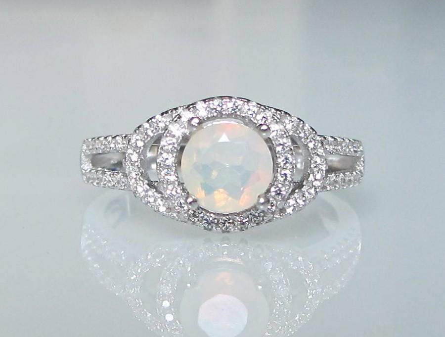 Natural Opal Anniversary Ring For Her Ethiopian October Birthstone Stone White Gemstone
