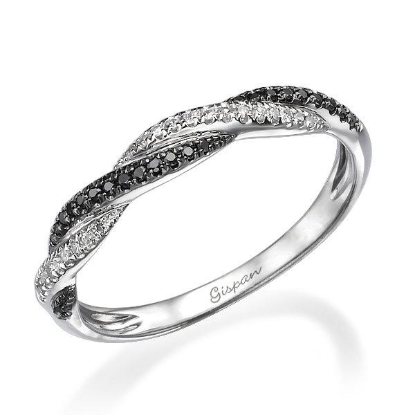 Unique Engagement Ring Knot Ring Braided Ring Black Diamond