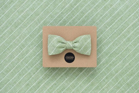 Light Green Striped Beach Wedding Bow Tie Grey Linen Men S Earth Colors Double Sided Freestyle Gift For Groom