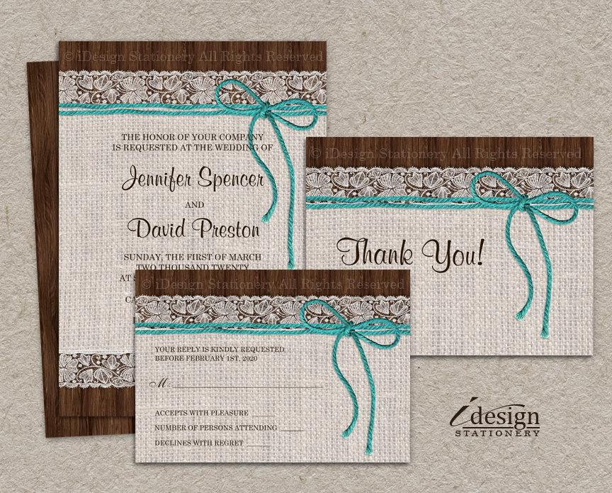 Diy Printable Rustic Turquoise Wedding Invitation Sets With Burlap And Lace Kits Invite Rsvp Thank You Card