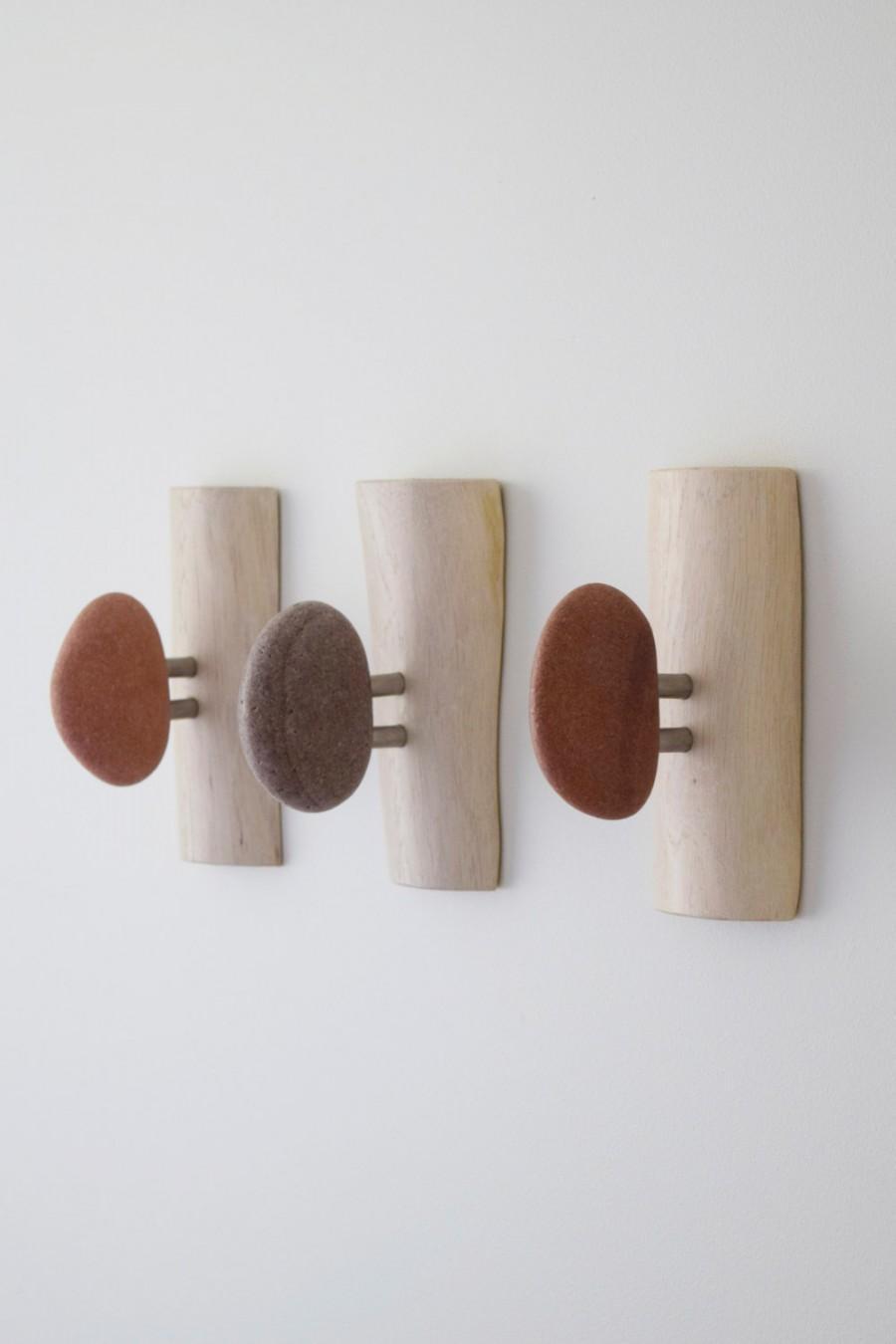 Stone Hooks Towel Bathroom Wall Holder Bar Rustic Shelf 3 Pcs