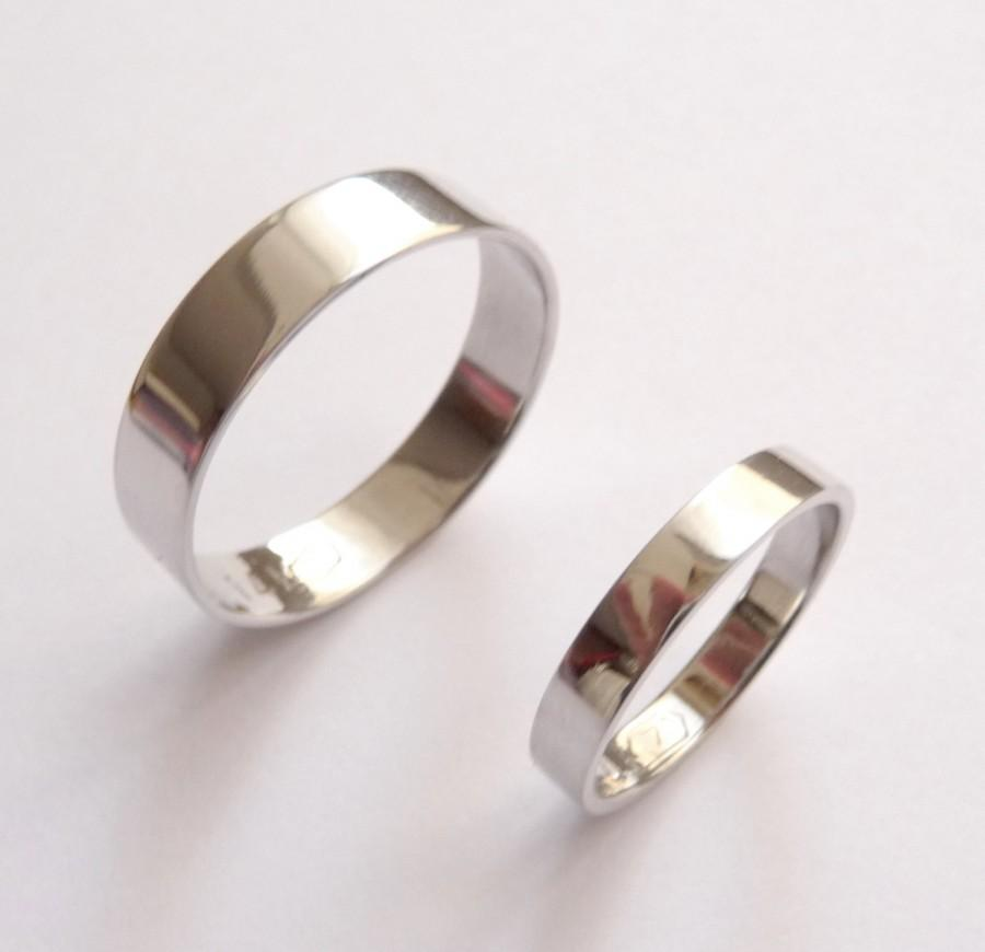 White Gold Wedding Band Set Women Ring Men Flat Shiny