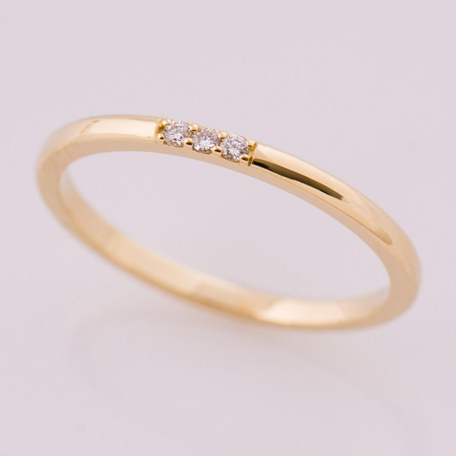 Thin Diamond Band 3 Stone 14k Yellow Gold Stacking Ring Stackable Tiny Dainty Promise