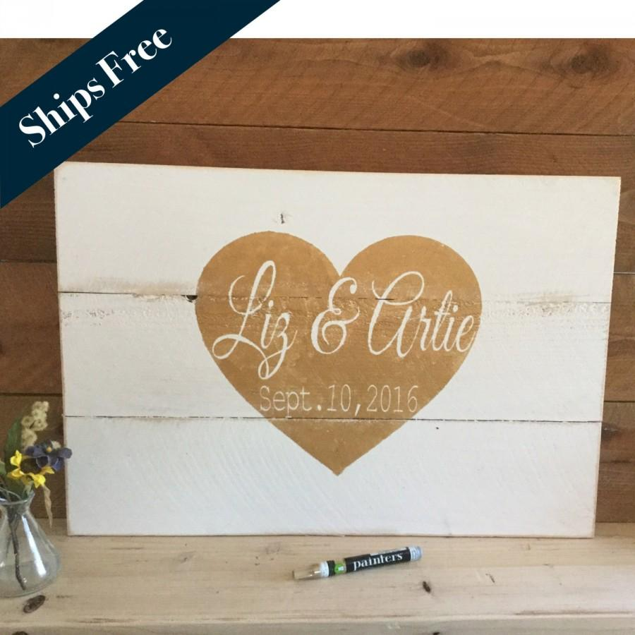 Wedding Guest Book Alternative Decor Signs Rustic Signage Personalized Sign Pallet Guestbook 16x24
