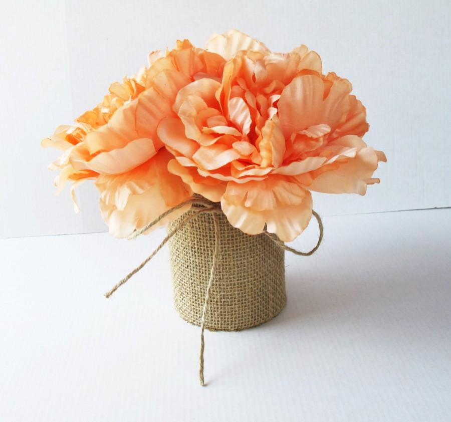 Wedding Table Decor Creamy Peonies Decoration Soft Orange Reception Artificial Flowers Centerpiece Flower Arrangement Elegant Fabric