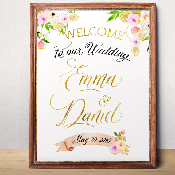 Wedding Sign Printable Welcome To Our Custom Fl Poster Idw15