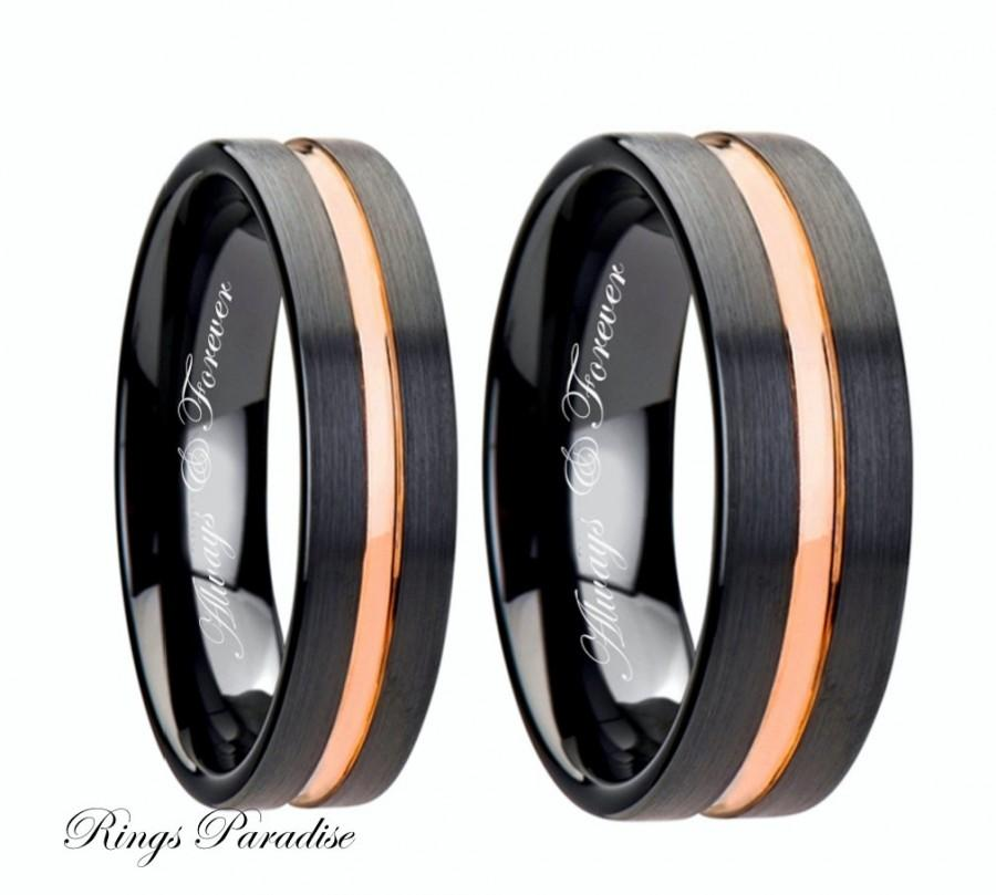 Wedding Band Set S Rose Gold Ring Promis His Her Bands Ceramic Bridal
