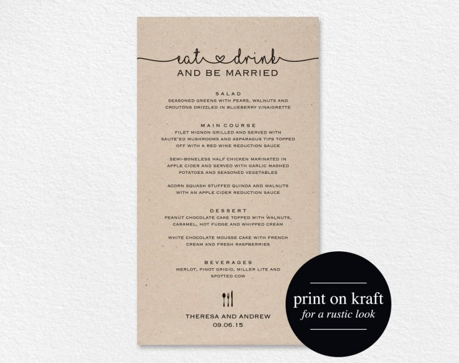 Wedding Menu Printable Template Cards Dinner Editable Pdf Instant