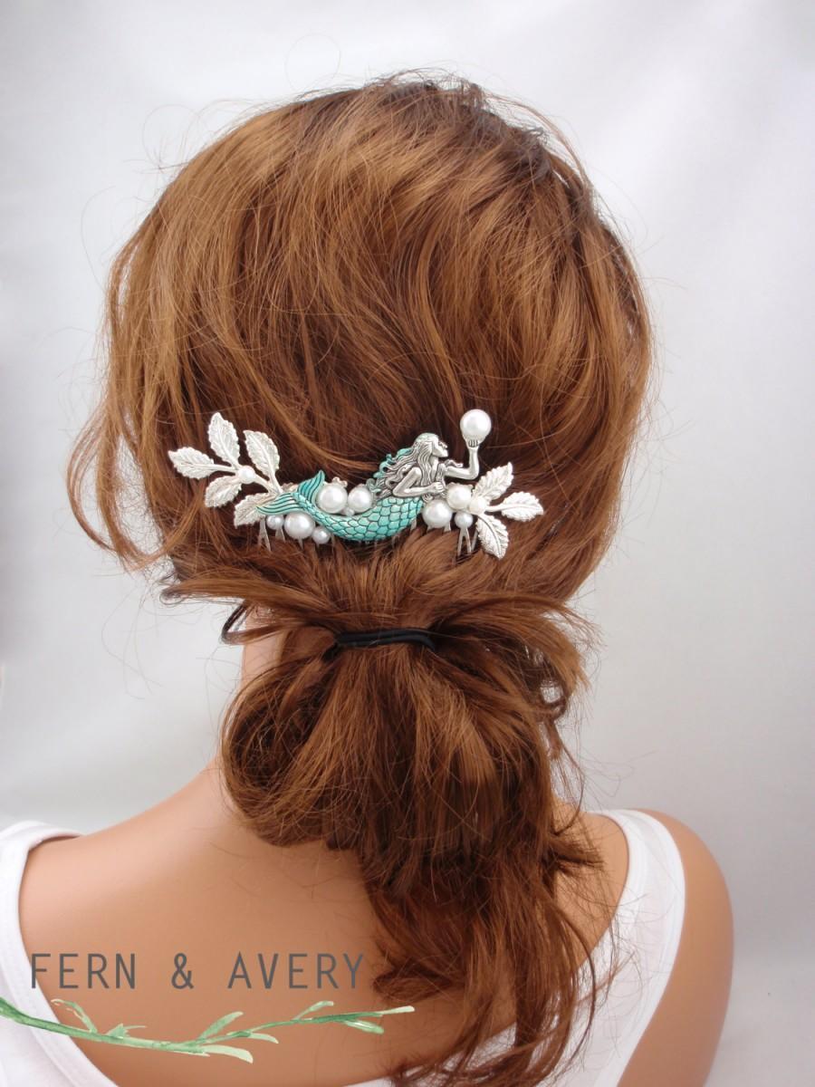 turquoise blue silver hair comb. mermaid beach wedding silver hair
