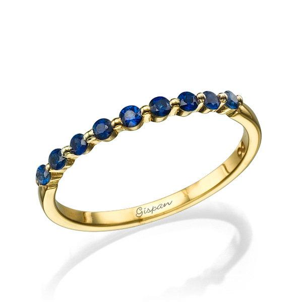Blue Sapphire Ring Yellow Gold Ring Engagement Ring Wedding
