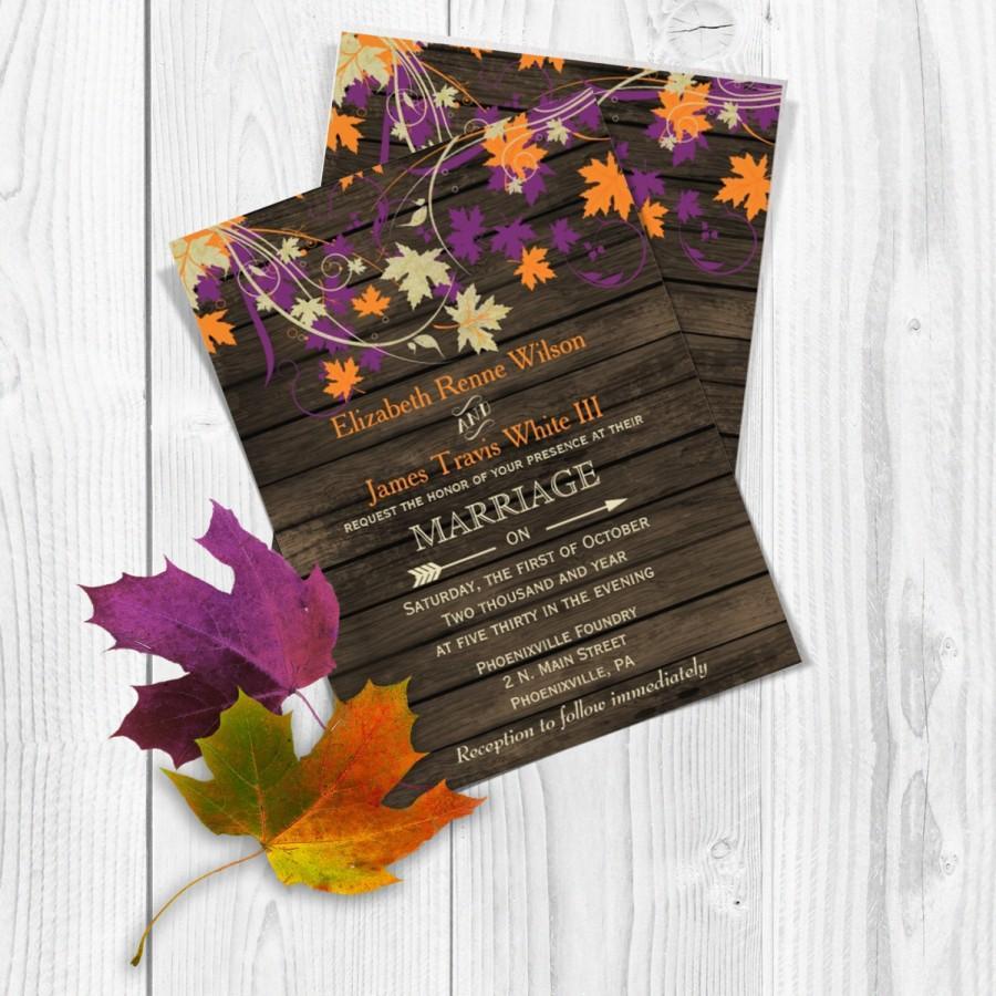 Printable Wedding Invitation Template Fall Invitations Rustic Templates Invites