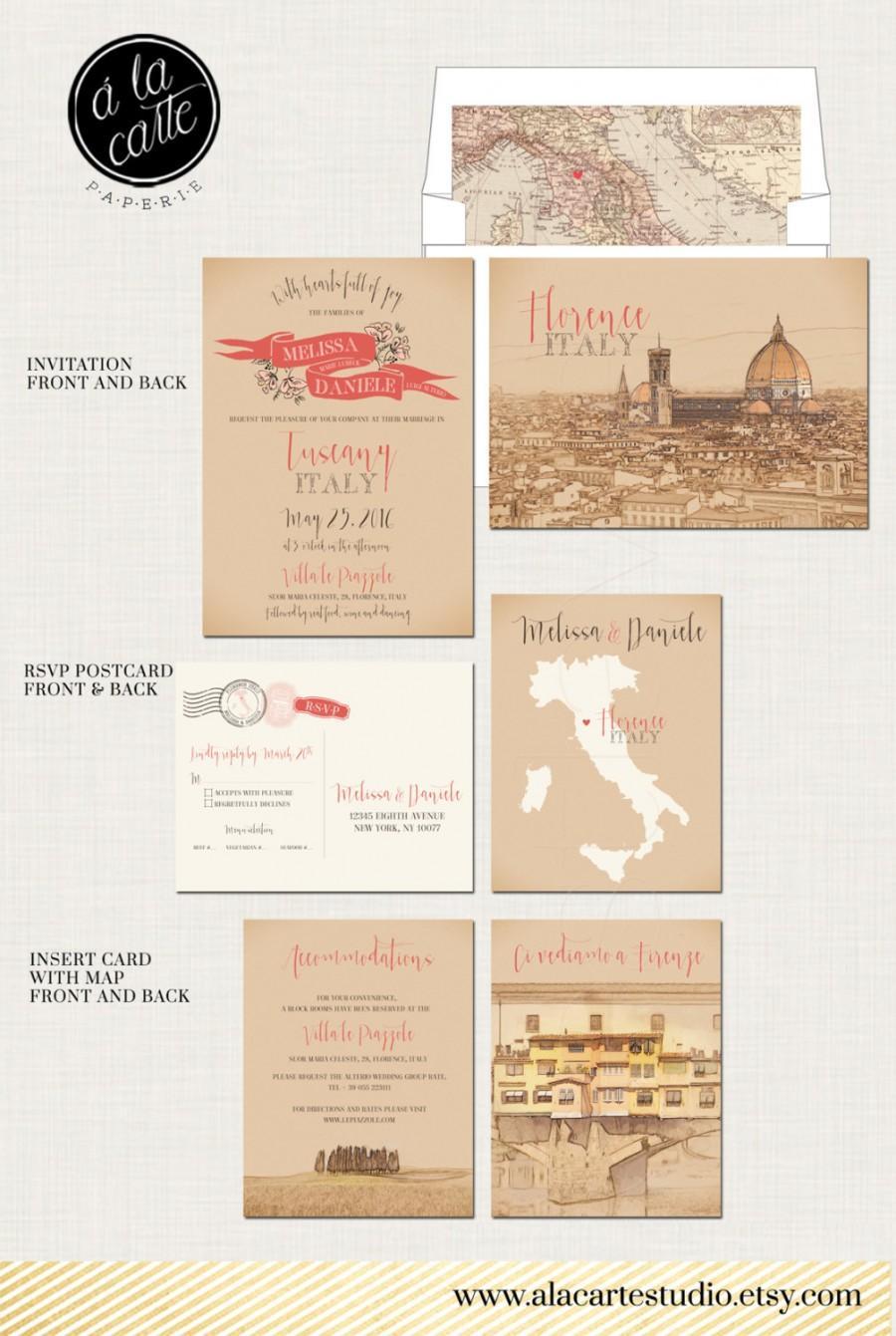 Destination Wedding Invitation Tuscany Florence Italy Suite European Bilingual Ilrated Deposit Payment