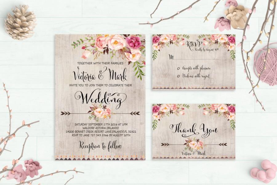 Fl Wedding Invitation Printable Suite Rustic Invite Boho Peonies Digital File