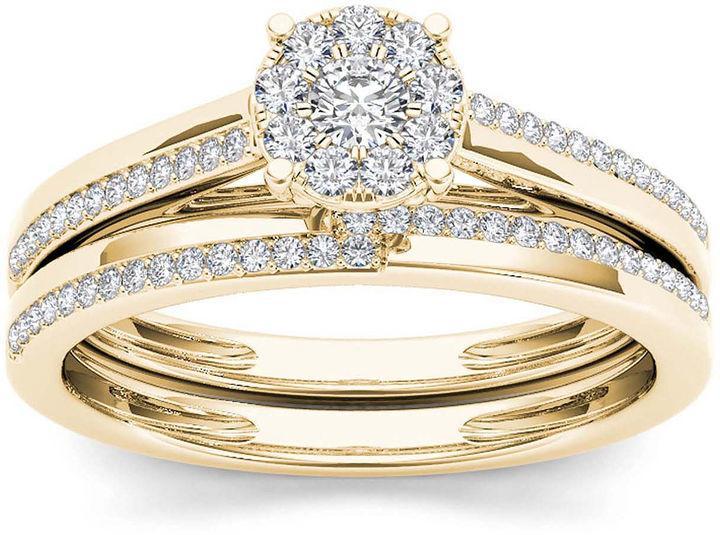 MODERN BRIDE 1 3 CT T W Diamond 10K Yellow Gold Round Cluster