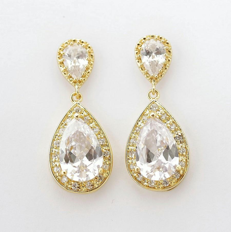 Gold Bridal Earrings Wedding Jewelry Clear Cz Teardrop Crystal Evelyn