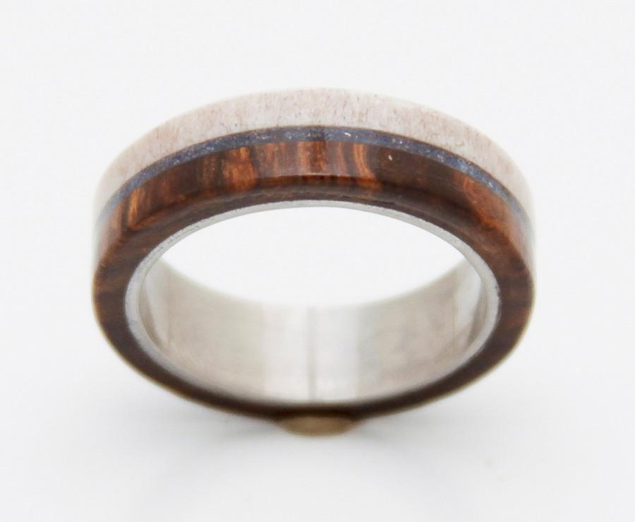 Antler Wedding Band With Lapis Mens Ring Engagement Iron Wood Desert