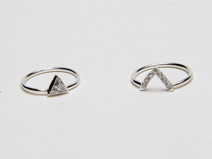Triangle Ring Engagement Anniversary Black Diamond Wedding Set Trillion With Swarowski Stones