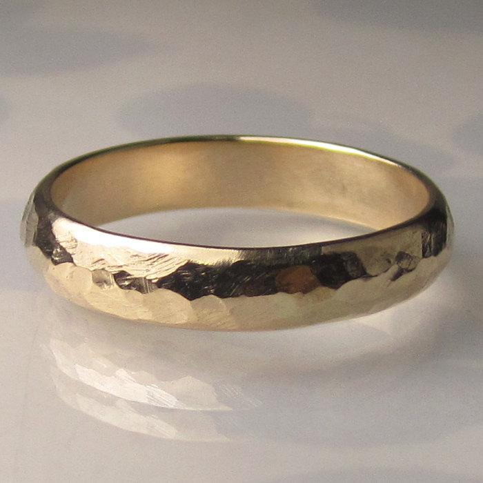Men S Gold Wedding Band 4mm Recycled 14k Yellow Ring Hammered