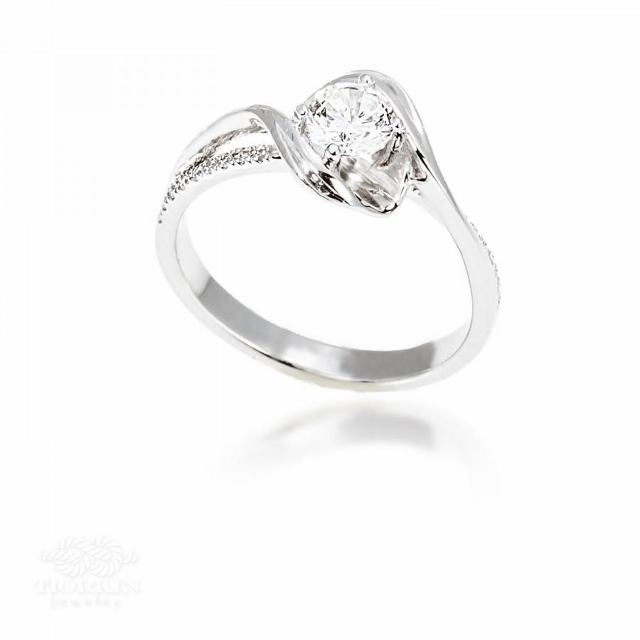 Wave Engagement Ring Unique Solitare Side Diamonds