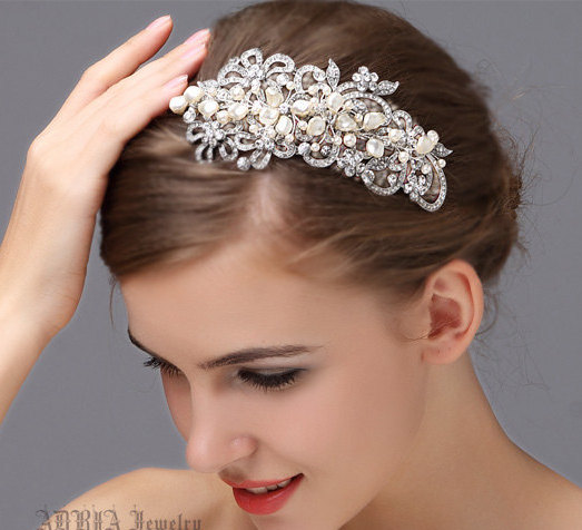 Wedding Hair Accessories Bridal Headband Hairband Ivory White Pearls Vintage Rhinestone Silver Band Jewelry Tiara Hb30