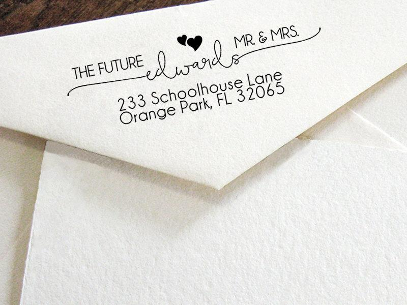 Custom Return Address Stamp Modern Calligraphy Wedding Self Inking Personalised