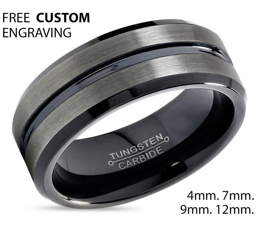Gunmetal Tungsten Ring Black Wedding Band Carbide 7mm Man Male Women Anniversary Matching