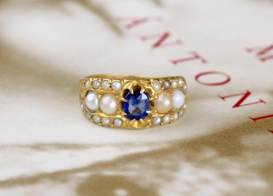 Top Antique Georgian Sapphire Engagement Ring, Victorian Sapphire  VT16