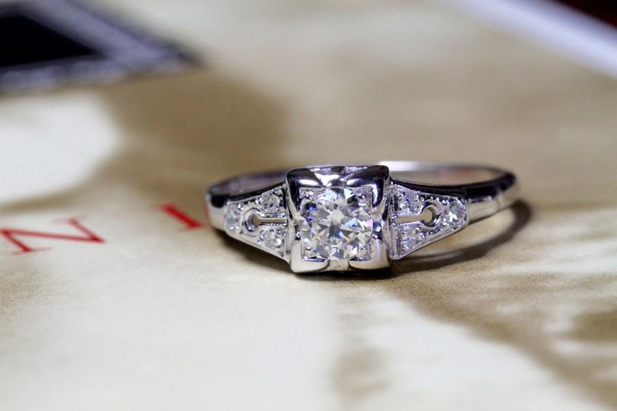 Art Deco Diamond Engagement Ring 18k White Gold 1920s Antique Wedding Band Unique