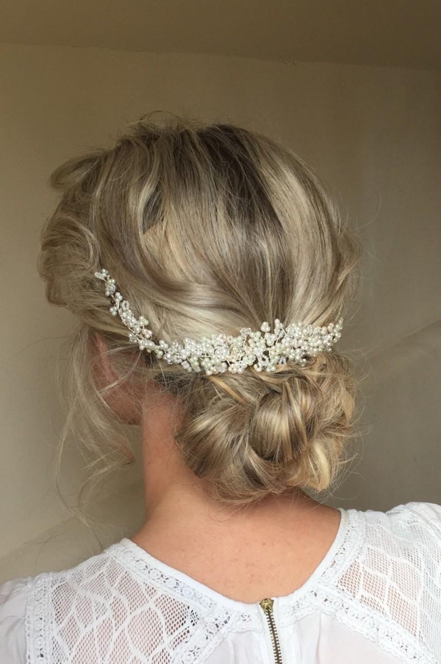 wedding pearl and crystal hair vine, bridal hair accessory