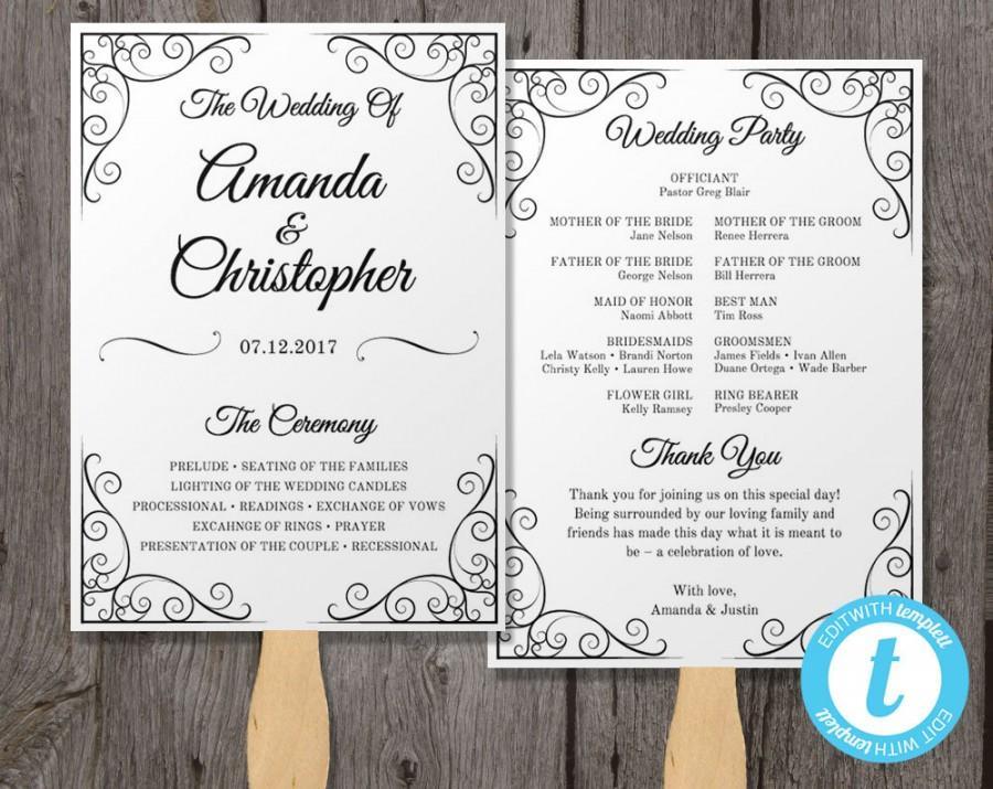 Vintage Wedding Program Fan Template Instant Edit In Our Web