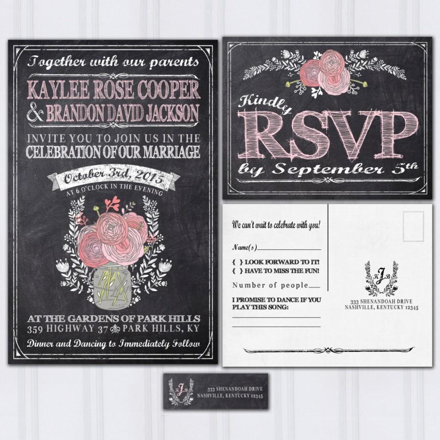 Chalkboard Wedding Invitations Rustic Mason Jar Boho Invitation Blush Pink Invites