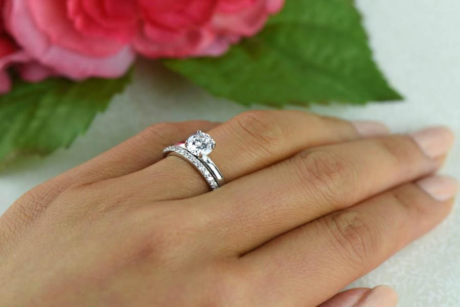 1 Ctw Round Bridal Set Solitaire Ring Half Eternity Band Wedding Man Made Diamond Simulant Engagement Sterling Silver