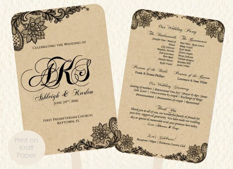 Wedding Fan Program Template Lace Kraft Rustic Style Print On Or Colored Paper Vintage Diy Instant Suggested Free Fonts