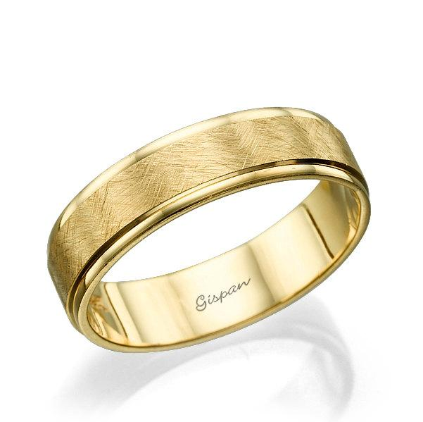 Wedding Band Ring Mens Yellow Gold Scratch Matte 14k Solid Unique