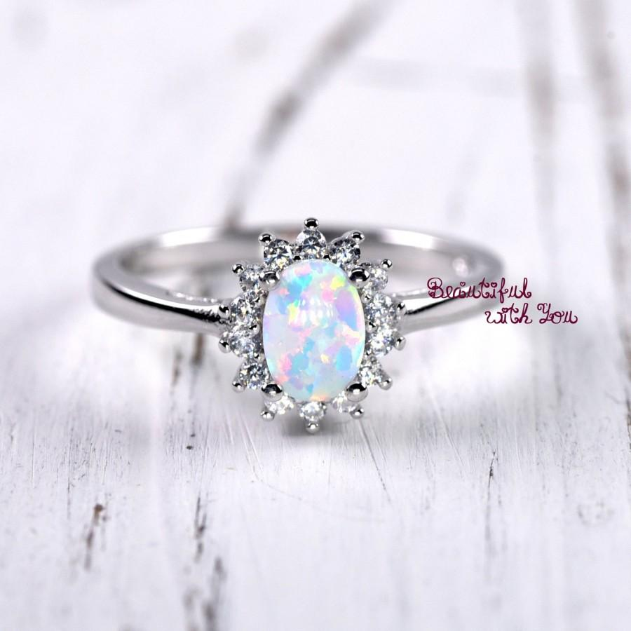 Unique Engagement Ring Womens Promise Rings White Lab Created Opal With Clear Cz Art Deco Victorian Everyday Jewelry Gift