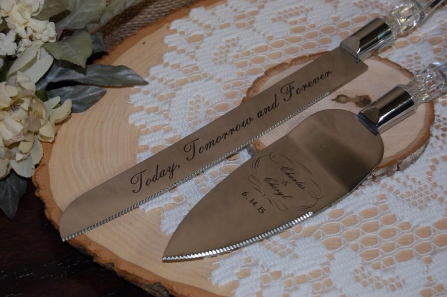 Engraved Cake Server Set Personalized For Weddings And Anniversaries Custom Servers Etched Knife Wedding