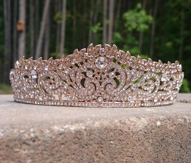 Bridal Tiara Rose Gold Wedding Crown Hair Accessories