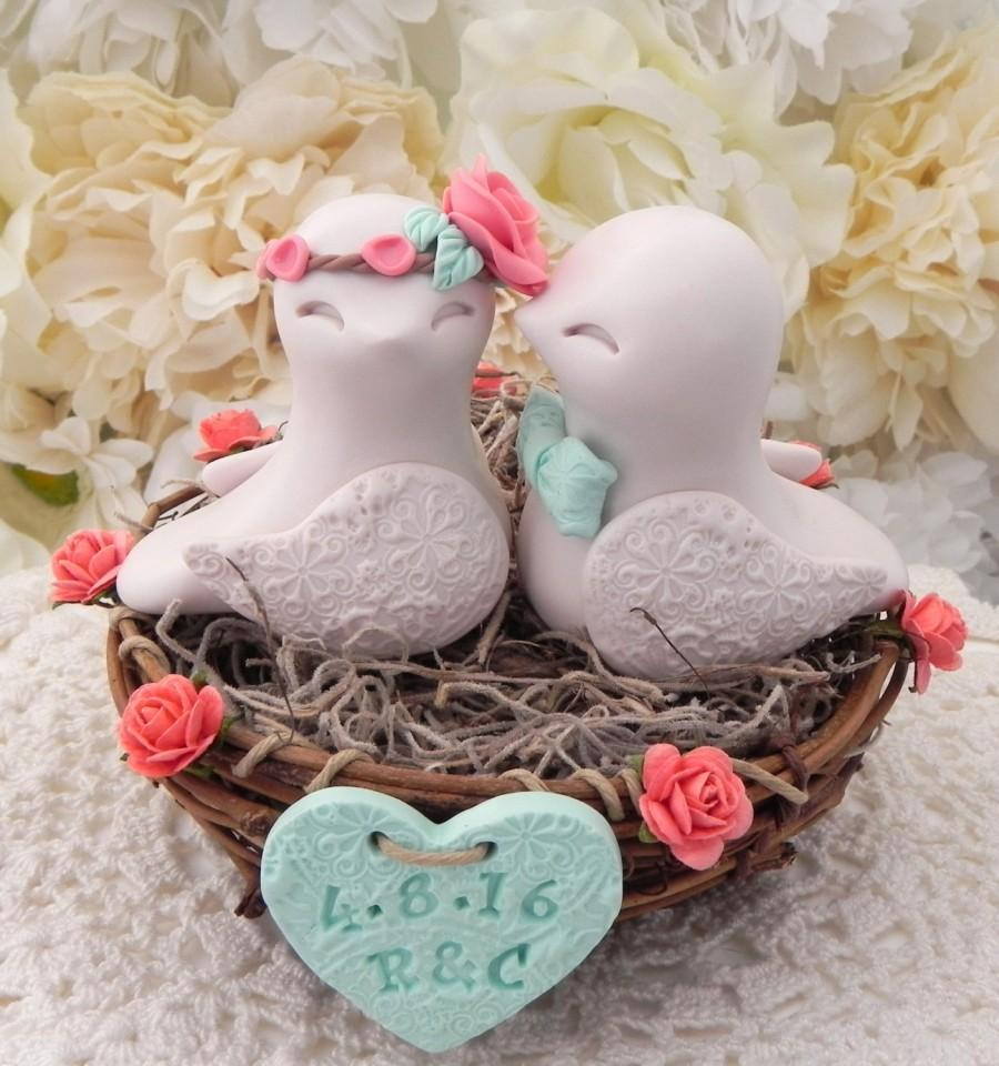 love bird wedding cake toppers rustic bird wedding cake topper coral beige and 16948