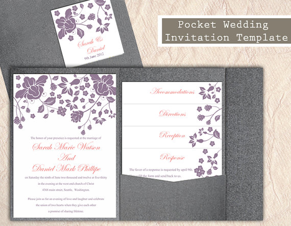 Pocket Wedding Invitation Template Set Diy Editable Word File Fl Eggplant Invitations Printable