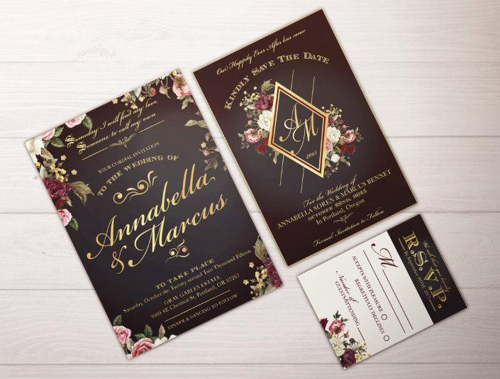 Wedding Invitation Suite Custom Able Fairytale Snow White Pdf Dark Fl Glamorous Fall