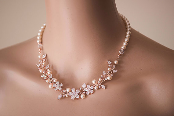 Rose Gold Wedding Necklace Swarovski Pearl W Sparky Cz Crystal Bridal Rhinestone