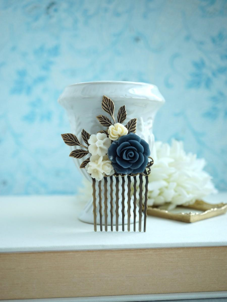 navy blue rose comb, blue ivory floral hair comb, blue flower hair