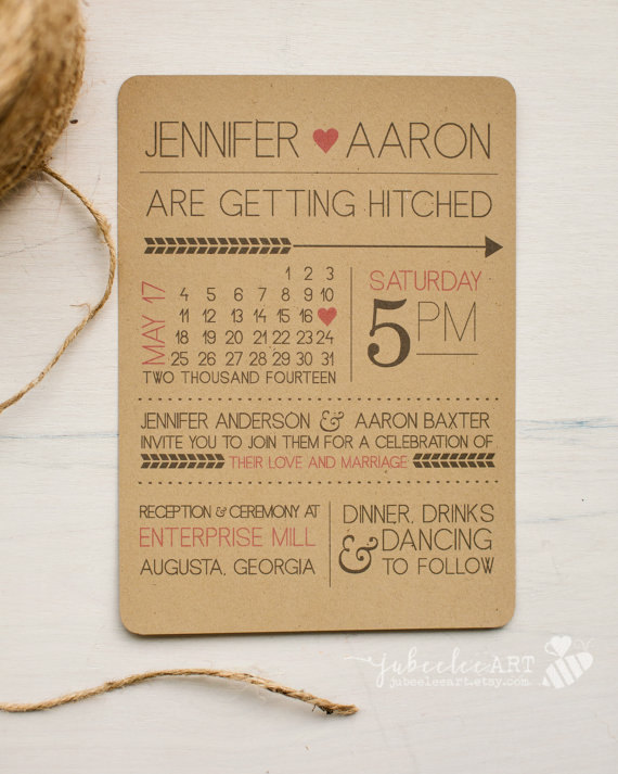 Rustic Modern Fun Printed Or Printable Wedding Invitation With Calendar Style Date And Customizable Colors Kraft Paper
