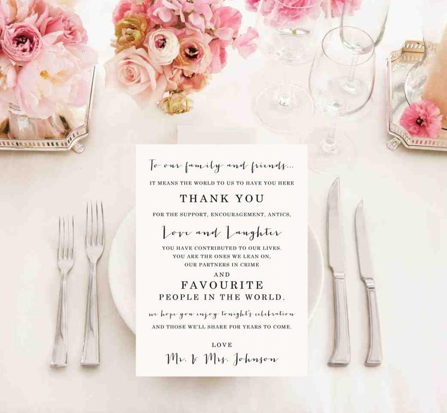 Printable Wedding Thank You Card Sign Reception Newlyweds Mr Mrs Favors Table Decoration